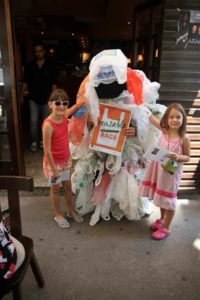 A 'plastic bag monster' roams the streets of Montenegro's capital.