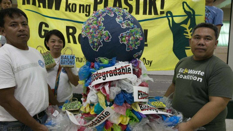 Environmental Groups dramatise the effects of single-use plastic bags in Manilla, Philippines.