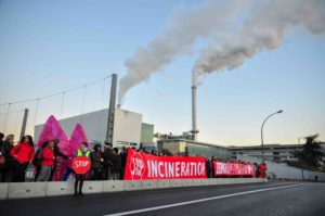 anti-incineration activists gather in-front of Ivry Incinerator